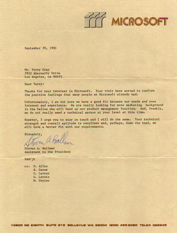 [IMAGE OF 1981 Microsoft Rejection Letter]