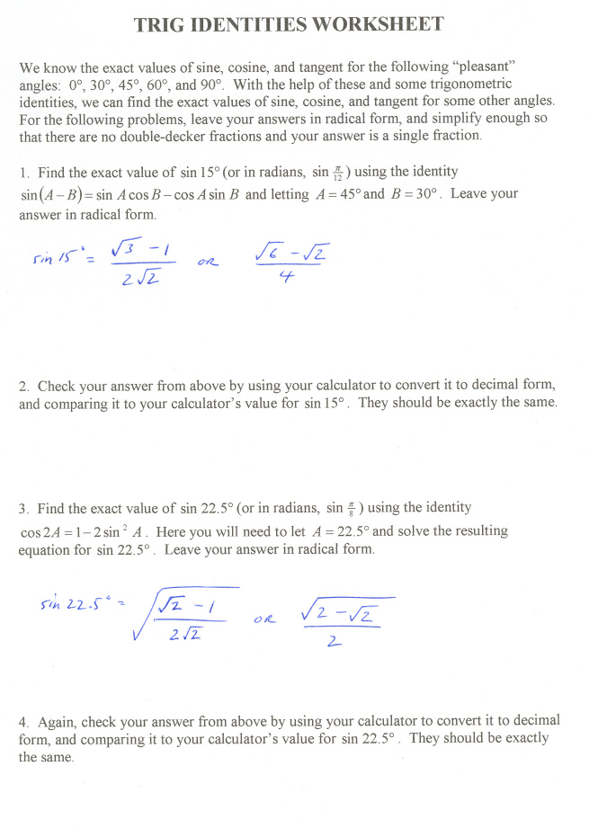 trig identities worksheet 3 4 answers free worksheets library download and print worksheets. Black Bedroom Furniture Sets. Home Design Ideas
