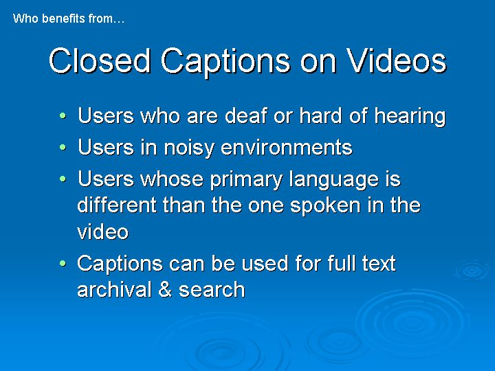 Closed Captions on Videos