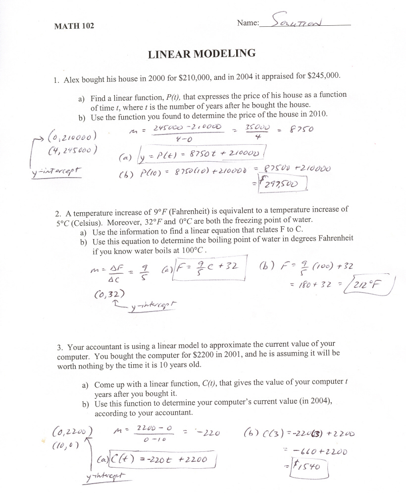 Workbooks linear worksheets : LINEAR MODELING WORKSHEET ANSWERS