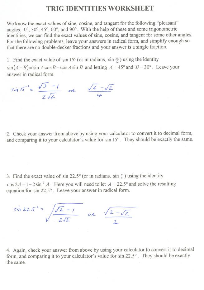 Trig Identities Worksheet
